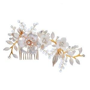 Image 4 - Peinetas de flores de porcelana para novia, conjunto de pasadores para el pelo, tocado de boda a la moda, Tiara lateral para baile de graduación, accesorios para el cabello para novias hechos a mano