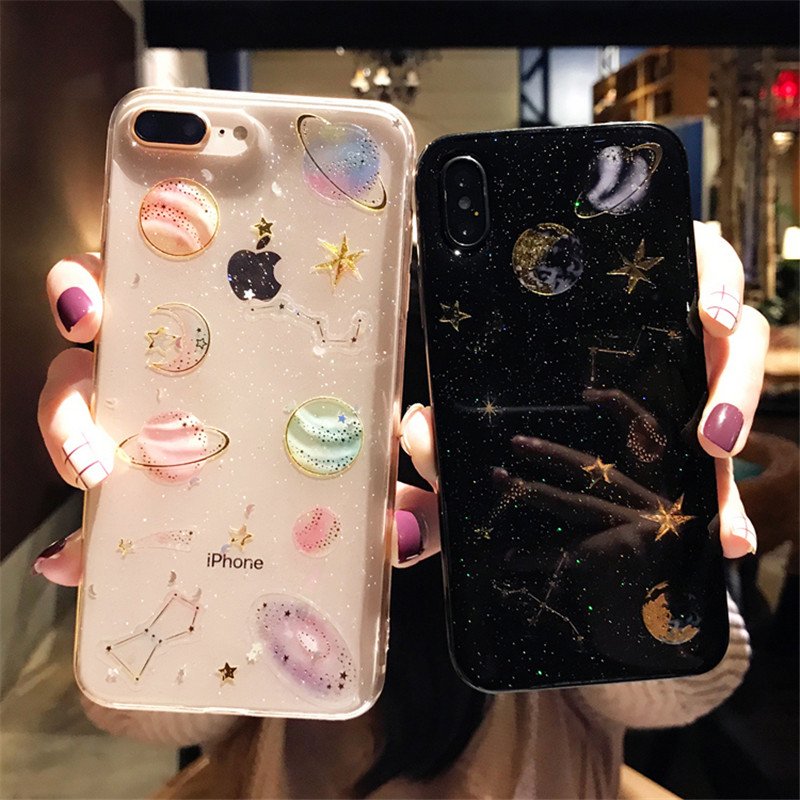 KSTUCNE Fashion Glitter Space planet phone Cases For