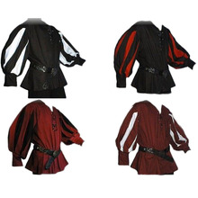 Men's Medieval Warrior Knight Tunic Shirt Belted Lansquenet Larp Pirate Costume Black Lace-Up Top Clothing For Paladin Plus Size