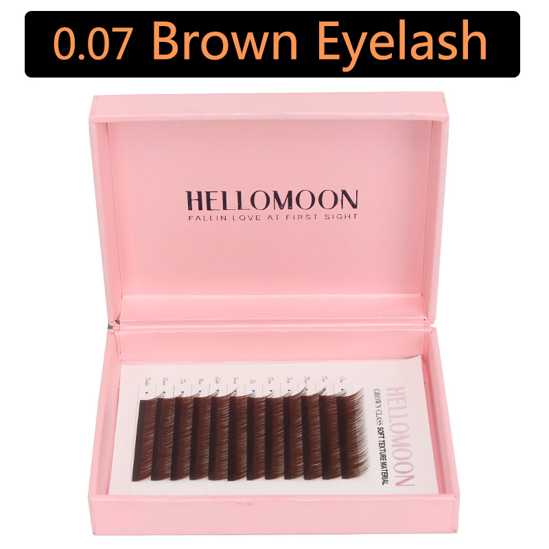0.07 Color eyelash extension, J/C curl, mink synthetic brown lashes, individual colored lashes extension