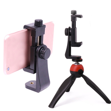 Phone Video Tripod Clamp Mount Adapter/Vertical Bracket 360 Degree Smartphone Holder/Clip Clipper Sidekick for iPhone 8 Android недорого
