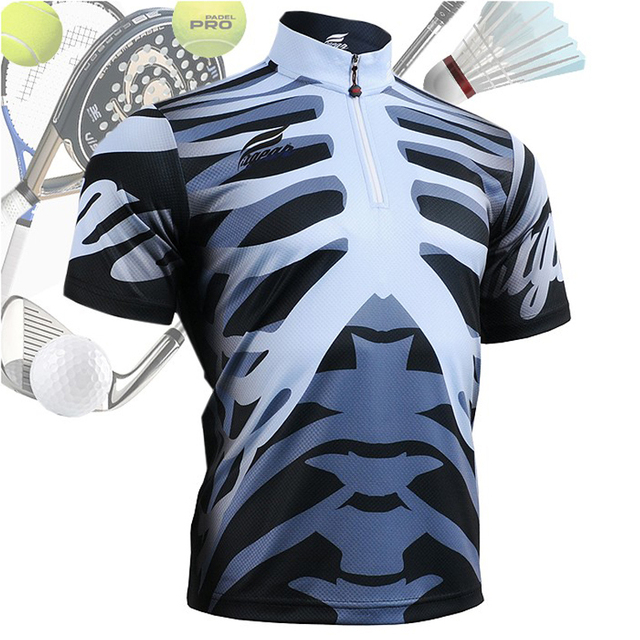 f904b334 3D Human Body Skeleton Men's Short Sleeve Sport Polo Shirt Quick Dry  Breathable Sweat Tennis Golf Sport Riding jersey BM5502