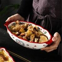 KINGLANG Cherry rectangular baking dish oven home ceramics binaille cheese risotto dish Italian lasagna dish