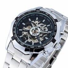 GANADOR automático Relojes De Marca Para Hombre Clásico Cruzado de La Manera del Viento Del Uno Mismo Reloj Mecánico Esquelético de Acero Inoxidable Reloj de Pulsera