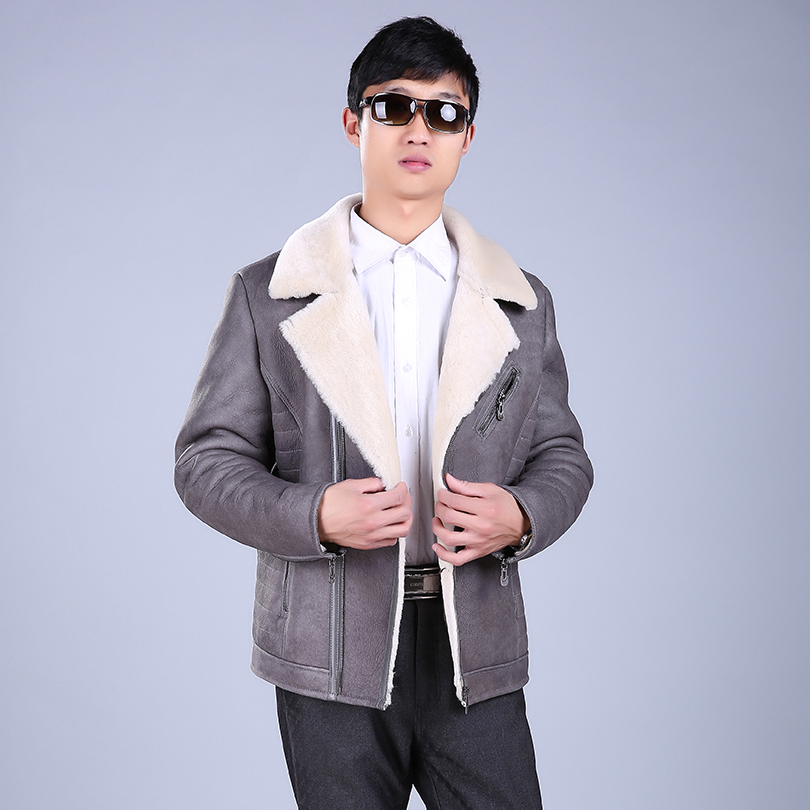 Men For Coar Autumn Winter Jacket Genuine Fur Wool Real Fur Coat Leather Jacket Turn-down Collar Fashion Male Leather Coat
