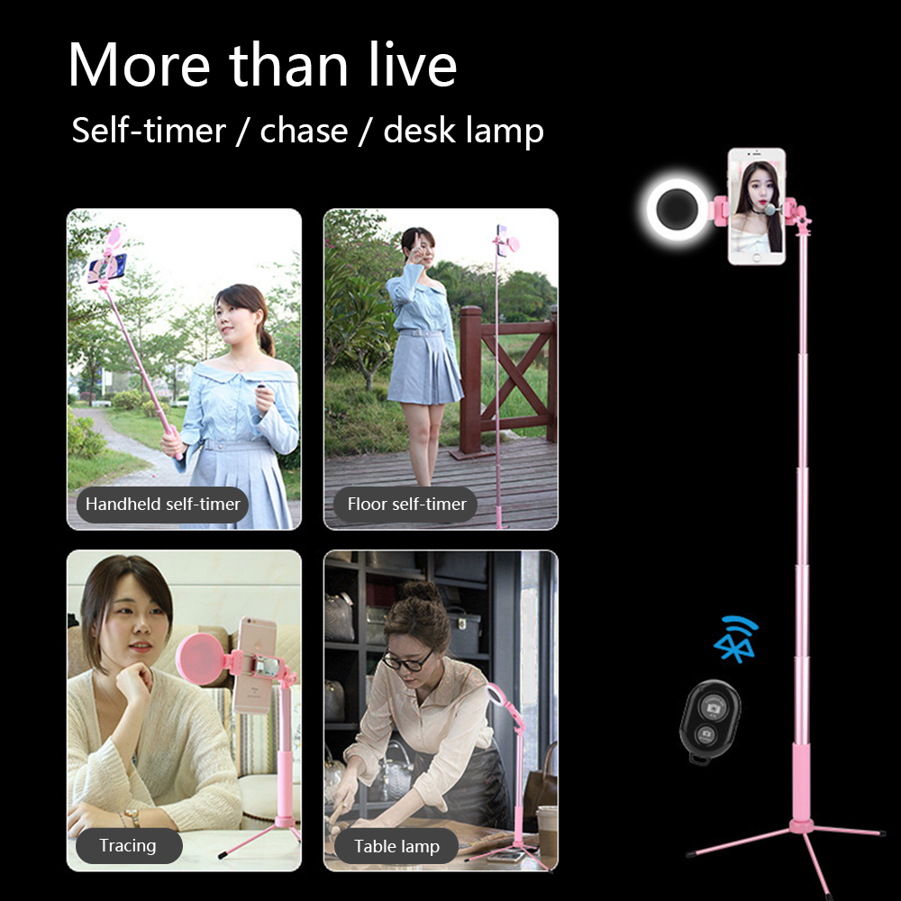 Travor 67inch 170cm Bluetooth Selfie Stick Tripod with Ring Light Selfie Beauty Portrait Fill Lighting for iPhone XS 7plus