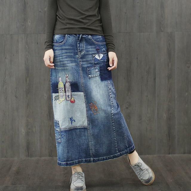 Mujeres Casual Patchwork Blanqueado Bordado Mezclilla Faldas de Las Señoras Deinim Deinim Moda Casual Faldas Mujer Faldas Del Bordado
