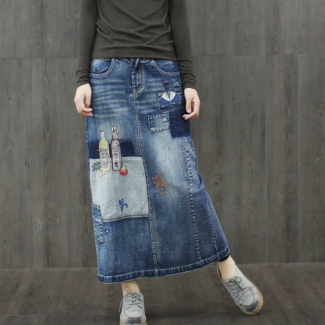 Women Casual Patchwork Bleached Embroidered Denim Skirts Ladies Casual Fashion Deinim Skirts Female Deinim Embroidery Skirts