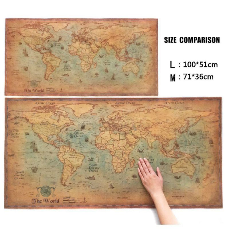 Adarl - Vintage World Map Antique Wall Poster