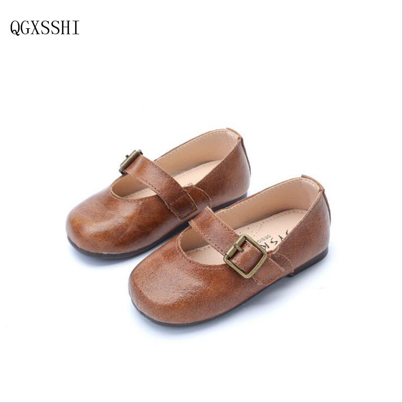 QGXSSHI Genuine Leather children shoes 2017 for toddler girls princess little baby kids footwear fashion child Leather shoes