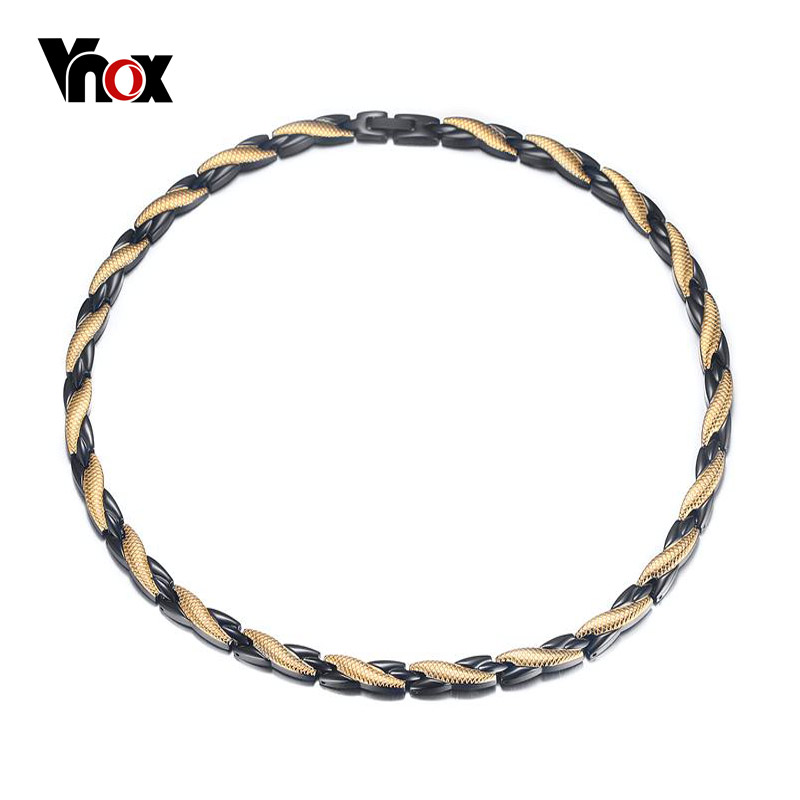 Vnox Energy Healing Magnet Necklace Germanium Magnet Infrared Stone Stainless Steel Men Jewelry vnox healthy stainless steel magnetotherapy bracelet men jewelry new fashion bio energy magnet bracelets