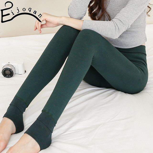 New large size seven colored cotton thickening leggings trample feet pants to winter Multicolor fashion women  350G  B001