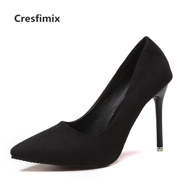 Cresfimix Women Cute Comfortable Flock High Heel Shoes Lady Fashion Sweet Spring & Summer Office Black High Heel Shoes B2912