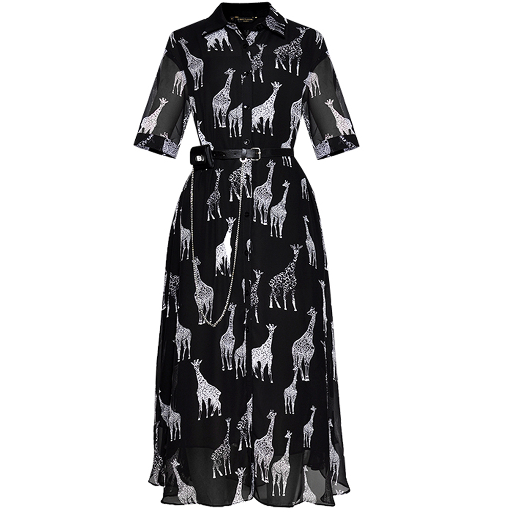 Red RoosaRosee Vintage Turn down Collar Animal Printing Black Loose Waist Midi Dress For Women Summer