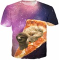 Лень Galaxy Пицца Футболка 3d животных печати пространство летом майка женщины топы тис моды для мужчин случайные футболки
