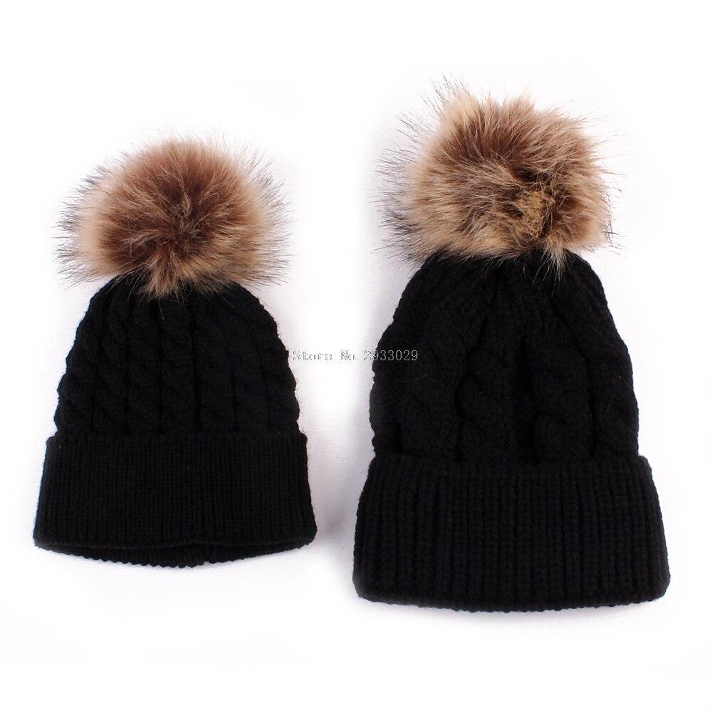 2Pcs Women Mother Baby Child Warm Winter Knit Beanie Fur Pom Hat Crochet Ski Cap -B116