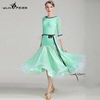 sexy new women standard ballroom dress dance wear waltz fringe flamenco tango dresses for lady green white