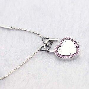 Image 3 - Подлинное серебро 925 пробы чокер замок ожерелья ваше обещание подвески ожерелья женские ювелирные изделия колье оптовая продажа