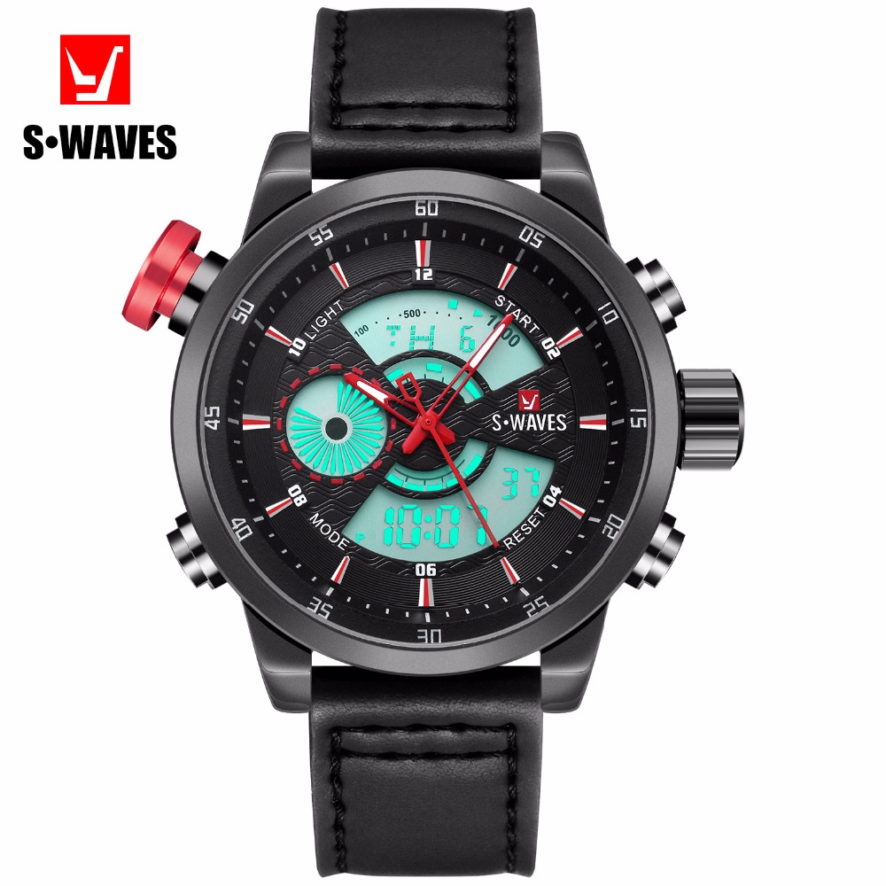 Digital Watch Men Quartz Electronic Sport Skeleton LCD 3bar Swiss Army Watch 2018 Black Leather Fashion Hollow Tag Wrist Watches
