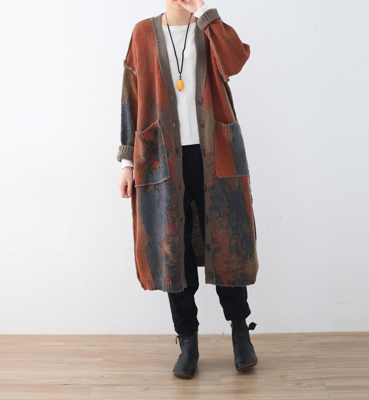 2018 Sping Art Vintage Long Warm Sweater Coat V Neck Big Pockets Orange Printing Women Loose Clothes