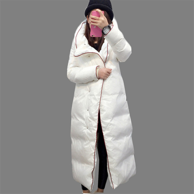 Cheap New Arrival Women's 2016 Winter Long Outerwear 90% Duck Down Coat Hooded X-long Warm Down Parka Single Breasted Down Coat AA237