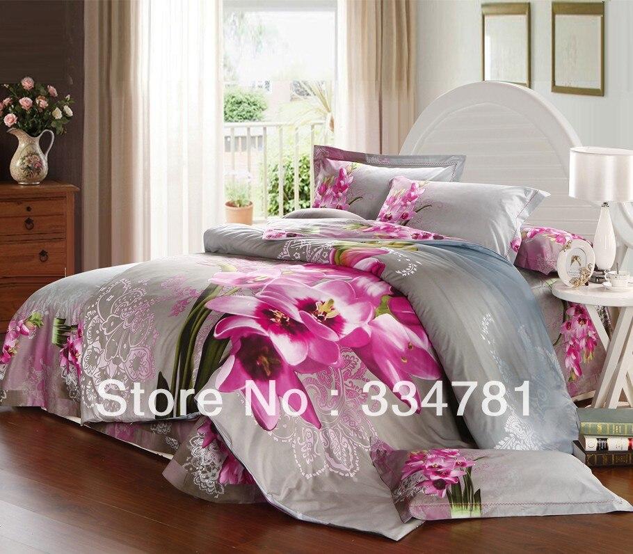 Hot Beautiful 100% Cotton 4pc Doona Duvet QUILT Cover Set bedding set Full / Queen King size colorful grey purple flowers - jiagen chen's store