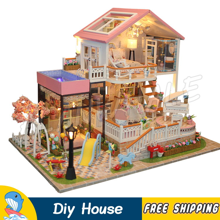 Miniature Doll House Princess Villa Flower Garden DIY Dollhouse With Furnitures Gifts Sets Adult Teenager Toys Model Building