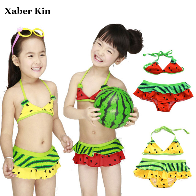 f521d0ec587ba Children Lovely Bikini Sets Two-Pieces Girls Watermelon Swimwear Kids Tankini  Suits Split Swimsuits Biquini Infantil K505