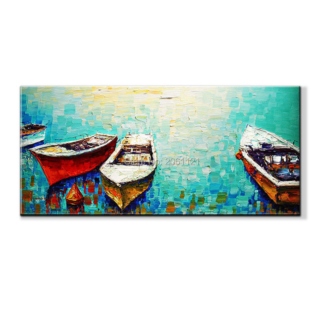 Hand painted abstract modern boat art paintings on canvas thick textured wall art blue home decor