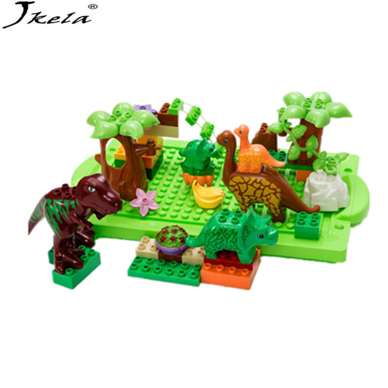 [Jkela] Large particles Animal dinosaur World park Model toys 40Pcs/Lot Dino Education Toys Compatible with Legoingly Duplo ynynoo 40pcs set large particles animal