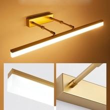 Lâmpada de parede led moderna, lâmpada de parede dourada/cromada/preta 40cm9w/50cm12w, luz dianteira, alumínio, luzes para banheiro, vaso sanitário lâmpadas de maquiagem