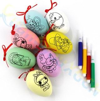 100sets easter decoration childrens day diy painting egg shell with 100sets easter decoration childrens day diy painting egg shell with pen kids gift plastic pendant easter egg educational tools in party favors from home negle Images