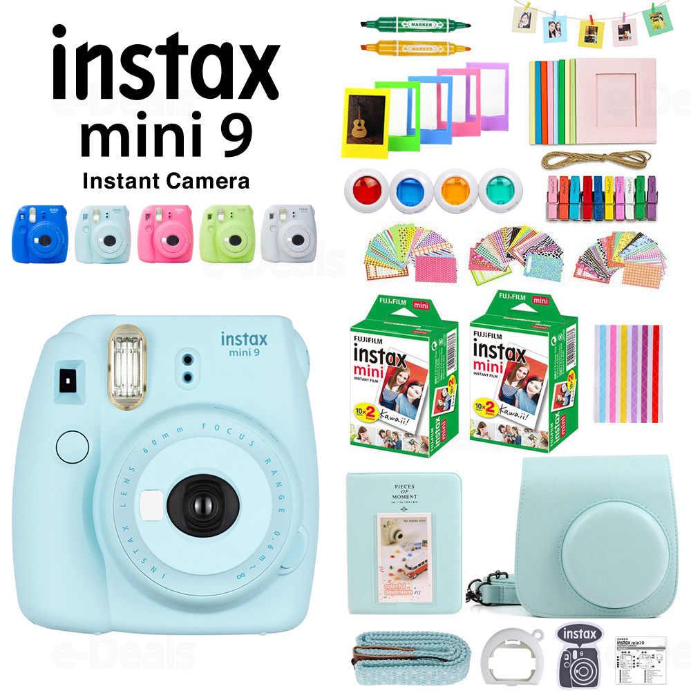 FUJIFILM Instax Mini 9 Kamera + 40 Lembar MINI 9 Instant Film Putih Kertas Foto + PU Case + Album + Filter Warna + Tutup Lensa + Gift Set