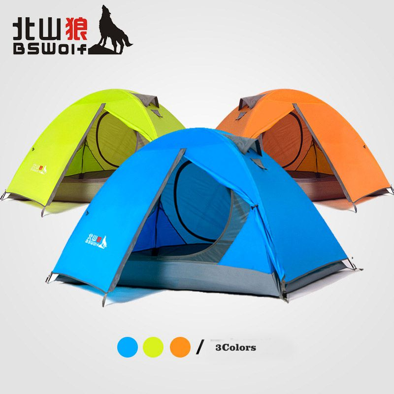 BSWolf 2persons fiber glass pole double layer double door windproof big rain proof professional camping tent have 3colors hewolf 2persons 4seasons double layer anti big rain wind outdoor mountains camping tent couple hiking tent in good quality