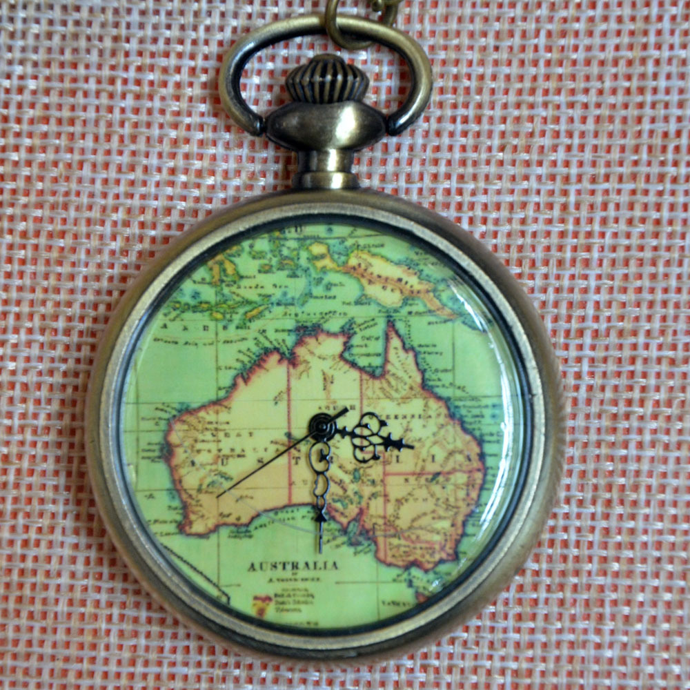 new fashion the australia map quartz pocket watch pendant necklace mens womens gifts in pocket fob watches from watches on aliexpresscom alibaba group