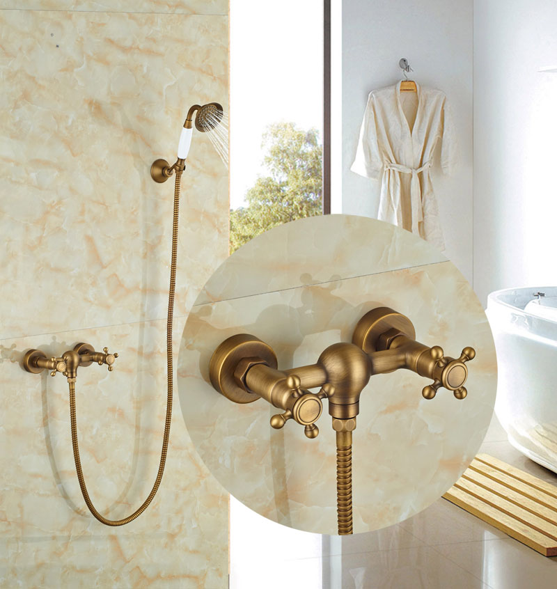 Retro Style Wall Mounted Shower Faucet Antique Brass Ceramic Handheld Tap Double Handles Mixer Faucet wall mounted dual handles antique brass finish bathroom shower faucet mixer tap