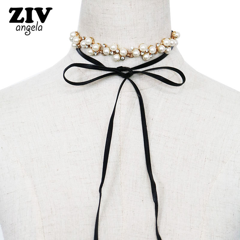 ZIVangela 2017 New Hot Fashion Women Cloth Accessories Simulated Pearl Necklace Pendant Bowknot crystal Long Necklace SKU5721