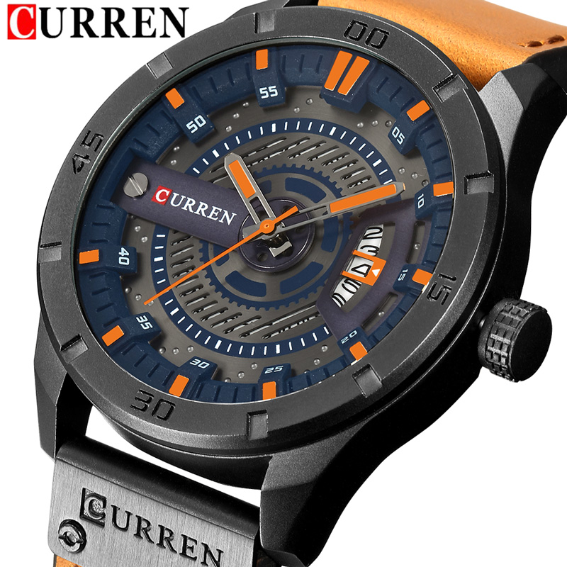 CURREN Date Men Watch New Top Luxury Brand Sport Military Army Business Male Clock Leather Quartz Wrist Mens Watches Gift 8301 curren fashion watches men top brand luxury wrist quartz watch male men sport clock military design casual men s gift clocks