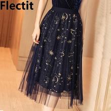 Flectit Gold Moon Star Embroidered Tulle Skirt Vintage Semi Sheer Fabric High Waist Pleated Midi Skirt For Women Ladies