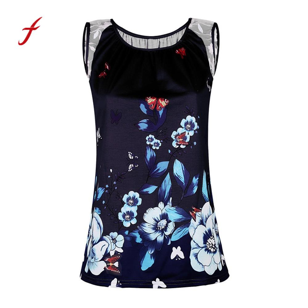Tops & Tees Ingenious Feitong Summer Women Tops Sexy Sleeveless Butterfly With Flora Print Vest Casual Top Shirt Camisetas Mujer /py Easy To Use T-shirts