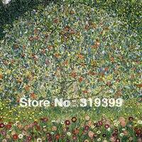 Gustav Klimt Oil Painting Reproduction On Linen Canvas Apple Tree I 24X24 Free Fast Ship Handmade