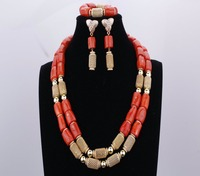 Fashion Orange Coral Gold Plated Indian Necklace Wedding Jewelry Sets African Beads Jewelry Set Free Shipping