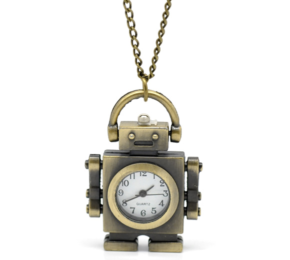 Creative Bronze Necklace Chain Robot Pattern Pocket Watches Tone Women Men Quartz Clock For Ladies Women Mens Clock 85cm