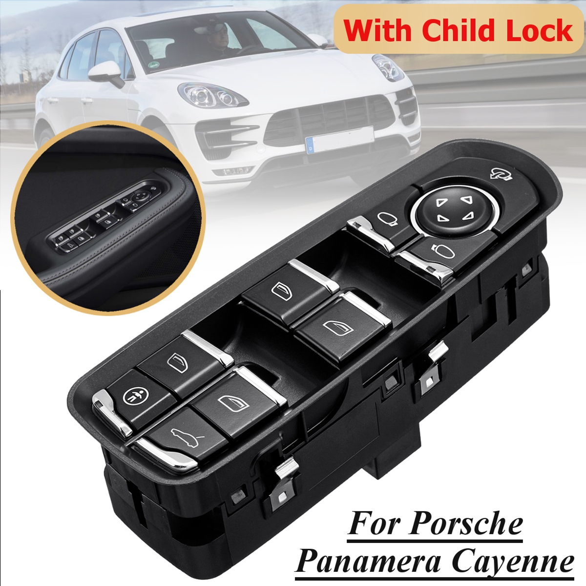 Front Door Driver Side Electric Power Window Switch with Child Lock for Porsche for Panamera 7PP959858MDML/RDML/HDML/KDML/AEDML