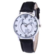 Relogio Feminino Dropshipping Gift Watches Women Fashion Love heart Leather Band Analog Quartz Round Wrist Watch  july27