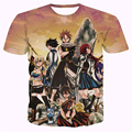 Clássico japão Anime Fairy Tail Natsu Dragneel T-shirts/Heartphilia Lucy/Erza Scarlet Personagens 3D t shirt Dos Homens Casual camisa de t