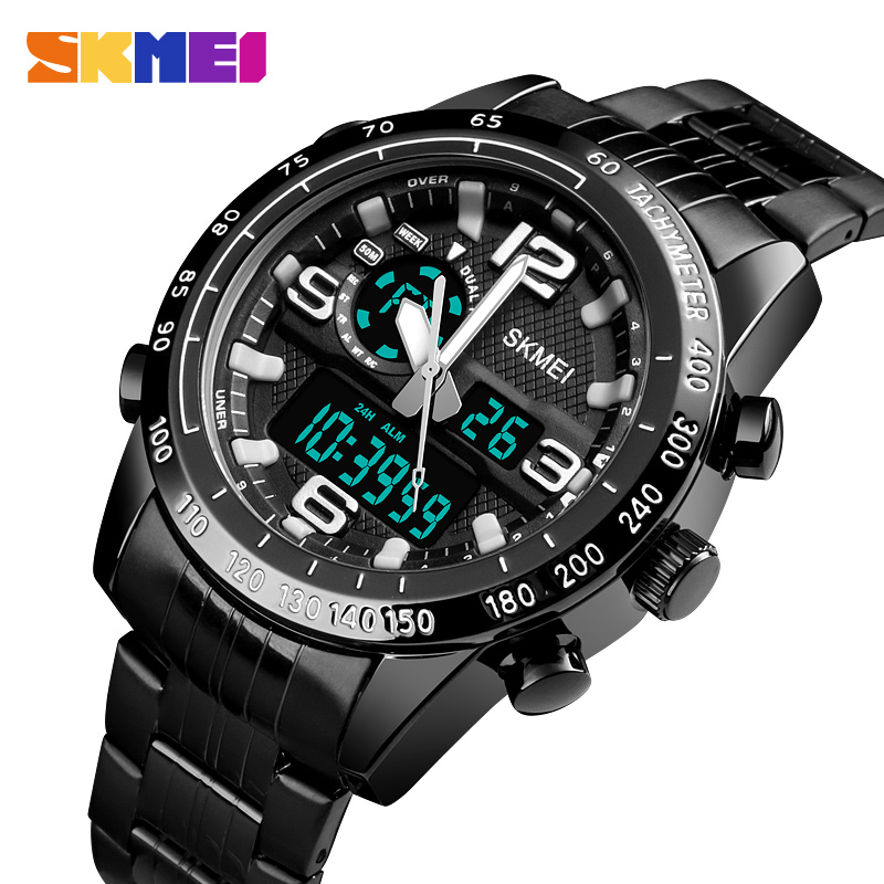 SKMEI Luxury Brand Watch Men Military Quartz Watches Steel Strap Waterproof Dual Display WristWatches relogio masculino 1453SKMEI Luxury Brand Watch Men Military Quartz Watches Steel Strap Waterproof Dual Display WristWatches relogio masculino 1453