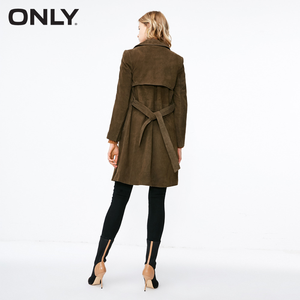 ONLY  Women's Suede Lace up Medium Style Lapel Leather Coat 118310537-in Leather Jackets from Women's Clothing    3