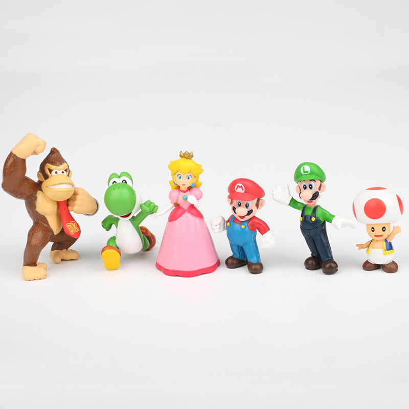 6 unids/lote dibujos animados subasta figuras Mario modelo pequeño ...