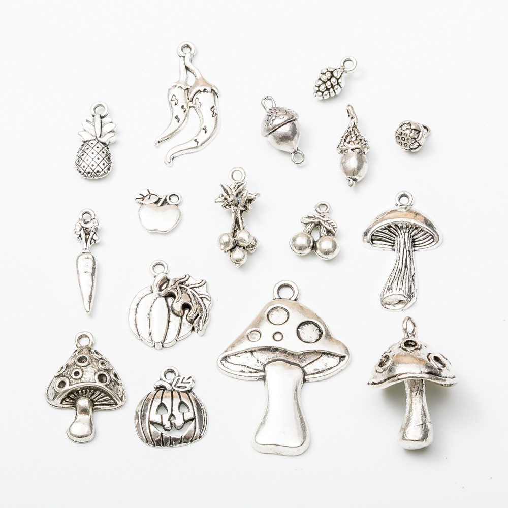 500pcs Apple Mushroom Pumpkin Pineapple Charms Antique Silver DIY Jewelry Making Pendant for Fashion Bracelet Necklace Earrings